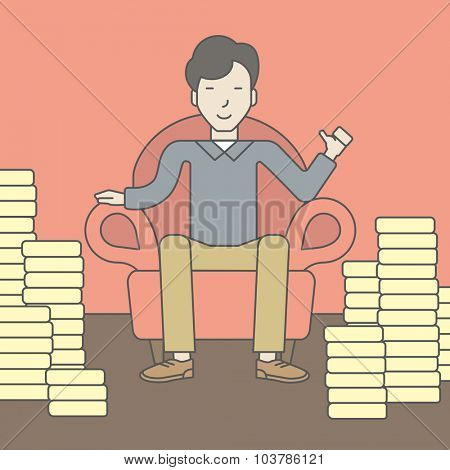 A successful asian businessman sitting in armchair with stacks of coins. Achievement concept. Vector line design illustration. Square layout.