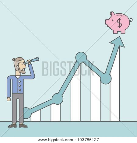 A caucasian hipster man with beard looking through telescope at piggy bank standing at the top of growth graph. Growing business concept.  Vector line design illustration. Square layout.