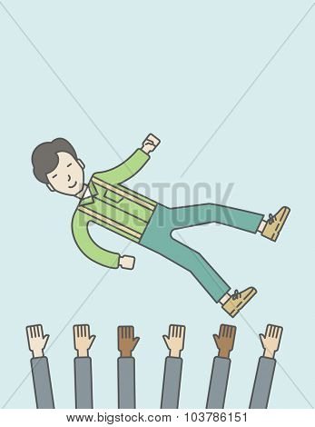 An asian businessman get thrown into the air by coworkers during celebration. Successful business concept. Vector line design illustration. Vertical layout with a text space.