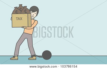 Chained to a large ball asian businessman carrying heavy box with bags full of taxes. Vector line design illustration. Horizontal layout with a text space.