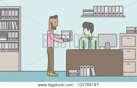 An african-american man giving a paper work to do to an asian man in office. Vector line design illustration. Horizontal layout with a text space.