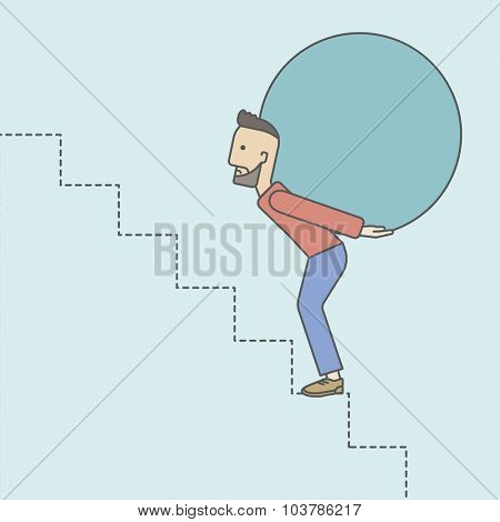 A tired caucasian hipster businessman with beard carrying a big ball going up to reach the goal. Vector line design illustration. Square layout.