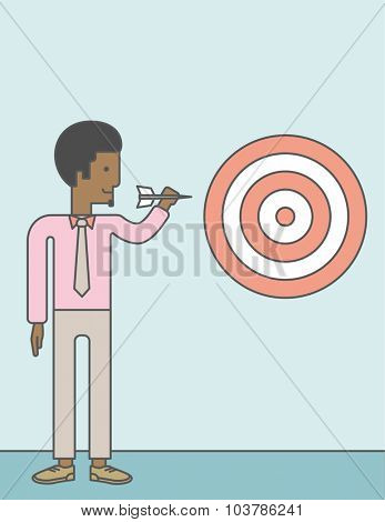 An african-american businessman standing with arrow and aiming at a target board. Vector line design illustration. Vertical layout with a text space.