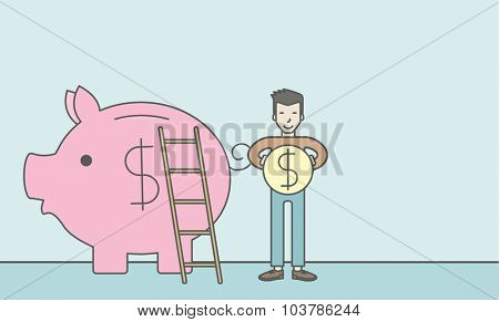 A happy asian man saving his money by putting a coin in a big piggy bank using a ladder. Saving concept. Vector line design illustration. Horizontal layout with a text space.