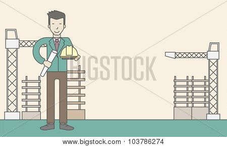 A happy asian engineer holding a hard hat and twisted blueprint on a construction site. Vector line design illustration. Horizontal layout with a text space.