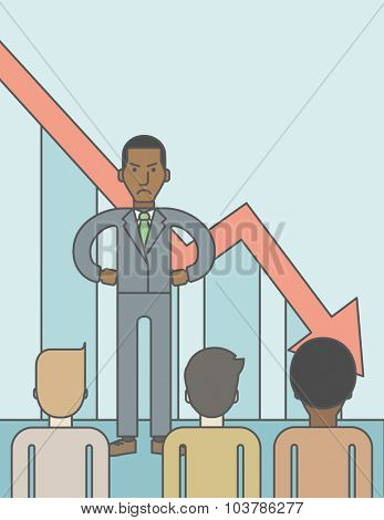 Angry boss disappointed by falling down graph standing in front of employees. Bankruptcy concept. Vector line design illustration. Vertical layout with a text space.