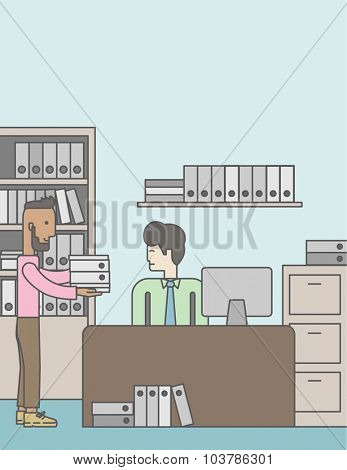An african-american man giving a paper work to do to an asian man in office. Vector line design illustration. Vertical layout with a text space.