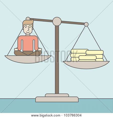 A caucasian businessman sitting on a scale with heaps of gold coins. Vector line design illustration. Square layout.