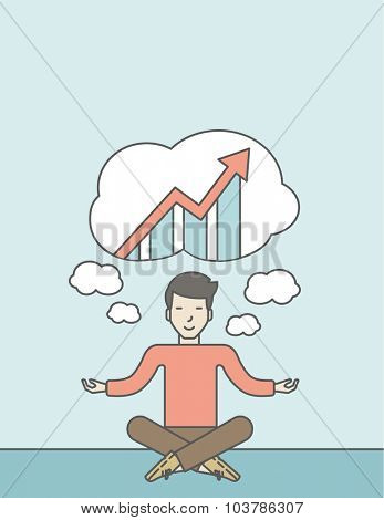Cheerful asian businessman sitting on the floor and thinking about the growth graph. Successful business concept. Vector line design illustration. Vertical layout with a text space.