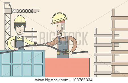 Two builders wearing hard hat working on construction site with hose. Vector line design illustration. Horizontal layout with a text space.