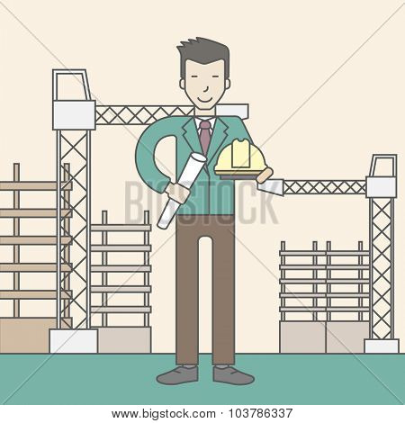 A happy asian engineer holding a hard hat and twisted blueprint on a construction site. Vector line design illustration. Square layout.