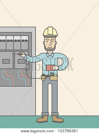 A caucasian hipster electrician with beard measuring the voltage output on an industrial power distribution center. Vector line design illustration. Vertical layout with a text space.
