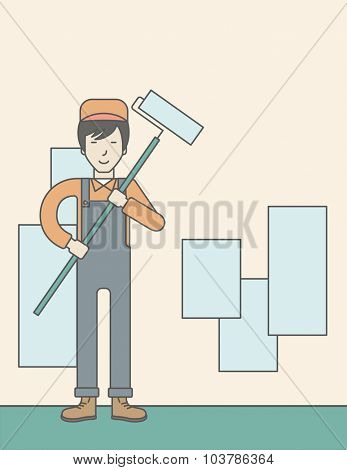 An asian window-cleaner holding roller on a stick. Vector line design illustration. Vertical layout with a text space.