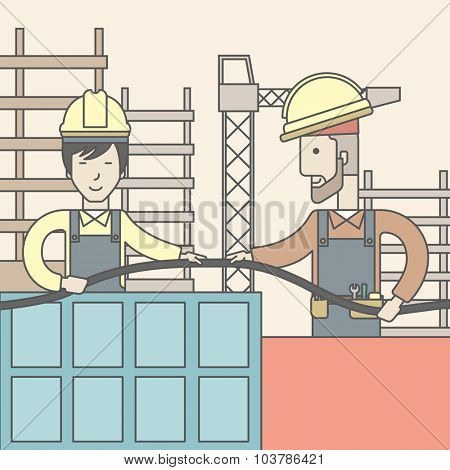 Two builders wearing hard hat working on construction site with hose. Vector line design illustration. Square layout.