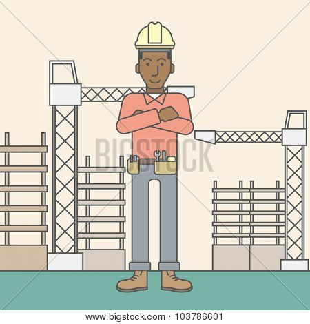Confident african-american builder at construction site. Vector line design illustration. Square layout.