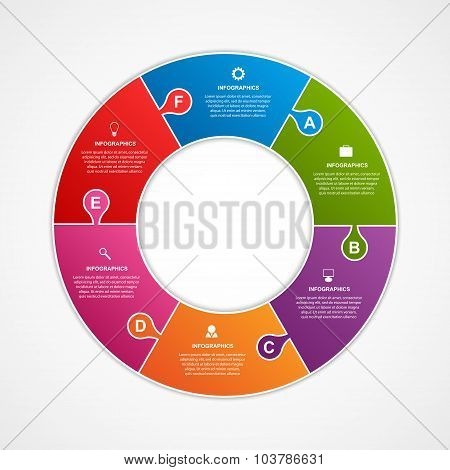 Circle Puzzle Options Infographics Template.