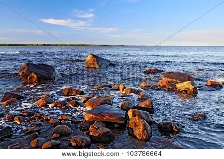 Shore Of The White Sea On A Summer Evening. Karelia, Russia