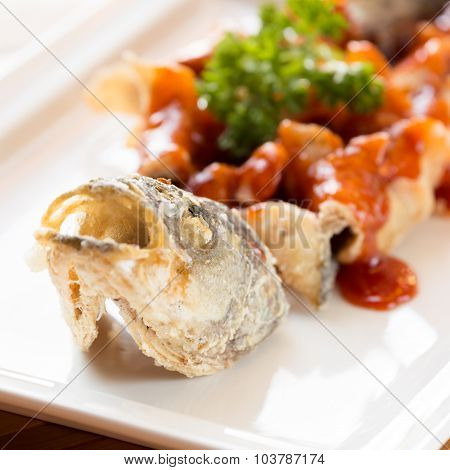 Japanese Style Fried Sea Bass, Served With Sweet And Sour Sauce
