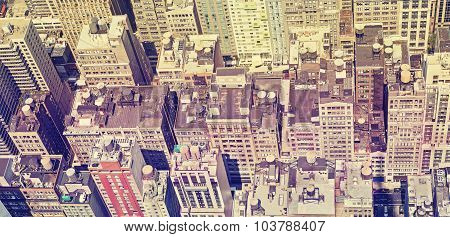 Vintage Style Panoramic View Of Manhattan Roofs.