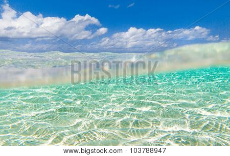 sea in Maldives with few palm trees and blue lagoon