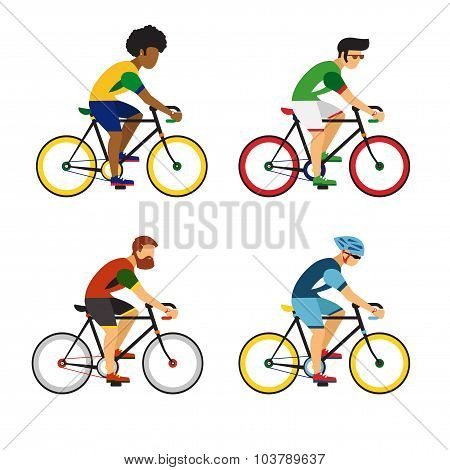 Cycling sport bicycle men icons set, road bike riders from different countries flat vector illustrat