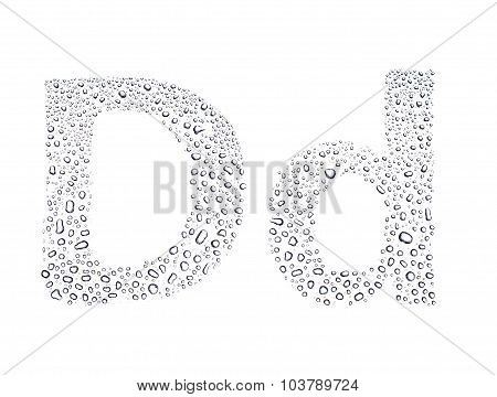 Water Drops Alphabet Letter D, Isolated White