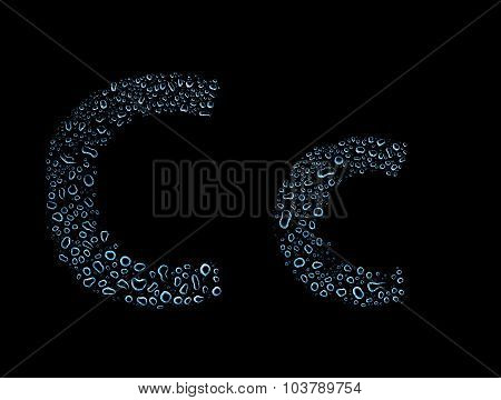 Water Drops Alphabet Letter C, Isolated Black