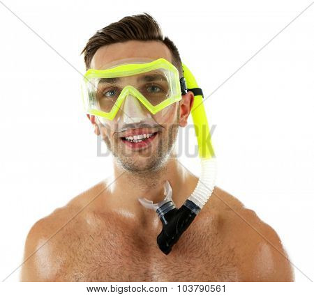 Young man with swimming mask or goggles, isolated on white