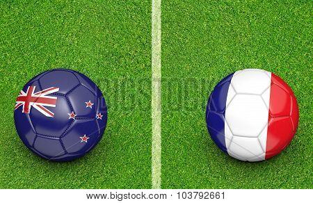Team balls for New Zealand vs France soccer tournament match