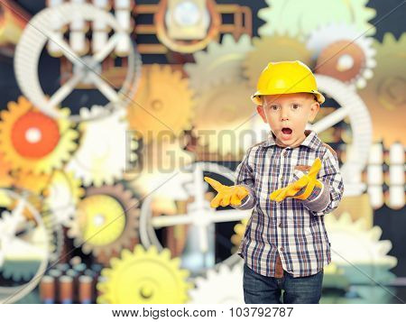 cute child act like handyman gear background