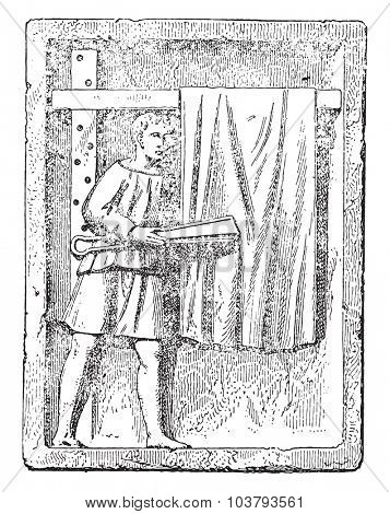 Cloth shearer, vintage engraved illustration.