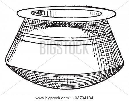 Cauldron without handle, vintage engraved illustration.