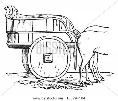 Farm truck, vintage engraved illustration.