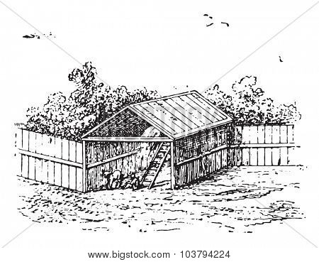 Horse barn, vintage engraved illustration.