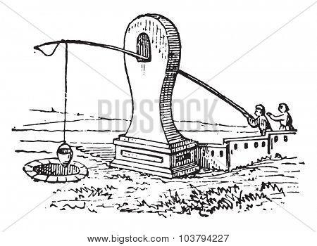 Rustic wells, vintage engraved illustration.