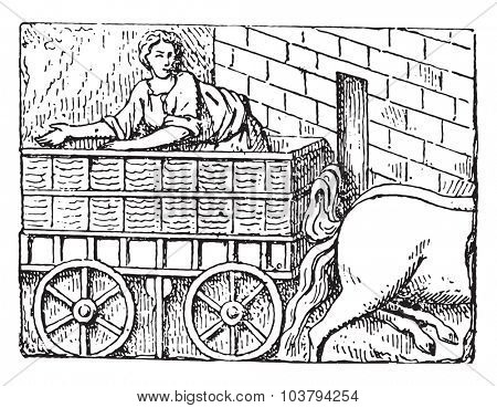 Gallo-Roman Chariot, vintage engraved illustration.