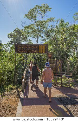 Devil´s Throat Entrance At Iguazu Park In Argentina