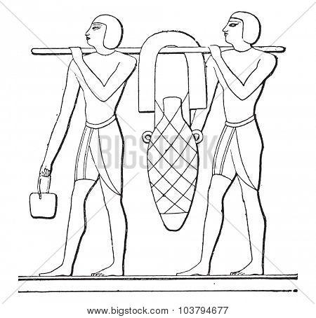 Transport amphorae, vintage engraved illustration.
