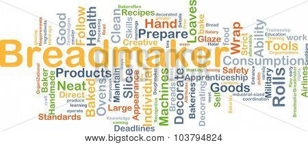 Background concept wordcloud illustration of breadmaker