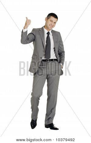Businessman with Daumen isoliert auf weißem Hintergrund
