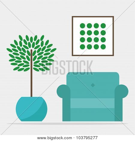 Living room interior design. Modern isolated armchair and flowerpot on grey background.