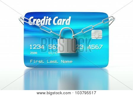 Credit Card And Padlock, Concept Of Security