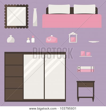 Bedroom set. Bedroom isolated elements.