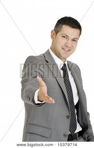 businessman offering hand isolated on white background