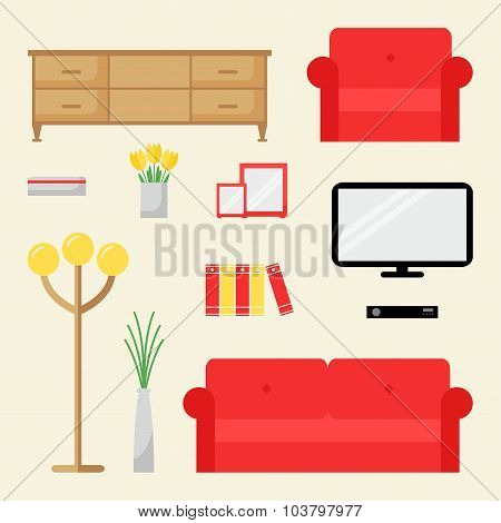 Living room elements isolated set.