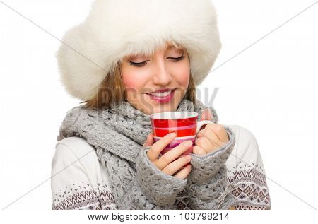 Young girl with mug isolated