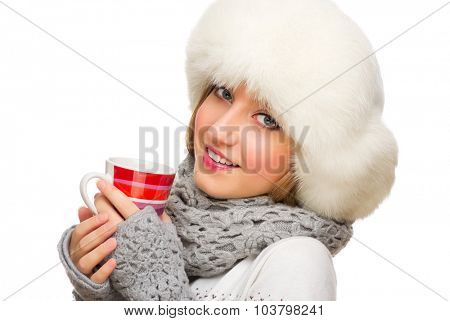 Young smiling girl with mug isolated