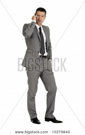 businessman with mobile phone isolated on white background
