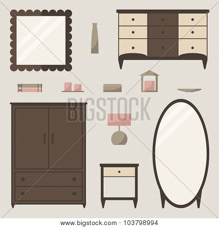 Wardrobe set. Classic wardrobe isolated elements.