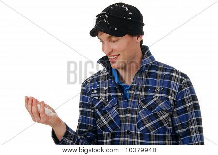 Cheerful Man With Snow In His Hand
